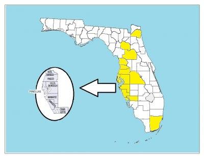 Map of Florida Showing Serviced Counties of Sarasota, Manatee, Pinellas, Hillsborough, Pasco, Hernando, Citrus, Alachua, Marion, Polk, Duval and Miami-Dade